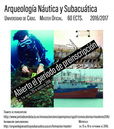 Abierto Plazo de Preinscripción al Máster de Arqueología Náutica y Subacuática.