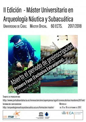 II Edición del Máster de Arqueología Náutica y Subacuática.