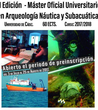 Abierto Plazo de Pre-inscripción de la II Edición del Máster en Arqueología Náutica y Subacuática.