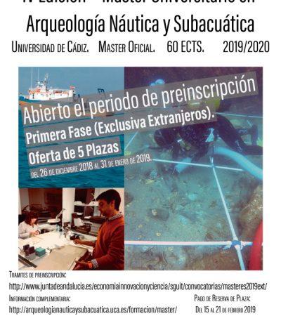 Abierto el Plazo de Preinscripción para la IV Edición del Máster de Arqueología Náutica y Subacuática